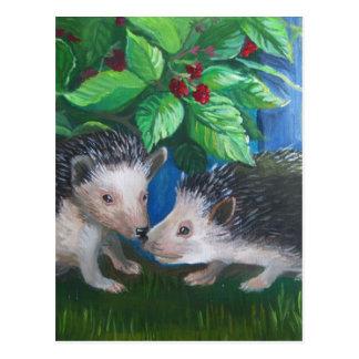 Cartão Postal Ouriços na pintura a óleo do amor