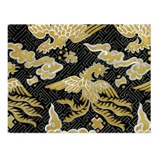 Cartão Postal Ouro chinês e teste padrão preto de Phoenix