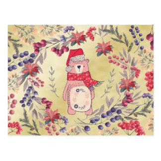 Cartão Postal Ouro das bagas da aguarela do urso do Natal