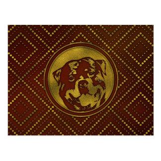 Cartão Postal Ouro decorativo gravado - Rottweiler