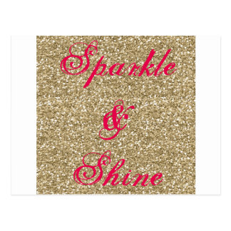 Cartão Postal Ouro e faísca e brilho do brilho do rosa quente