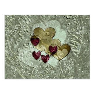 Cartão Postal Ouro e rubi dos presentes | do coração