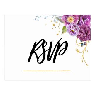 Cartão Postal Ouro violeta floral RSVP da aguarela elegante