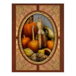 Cartão Postal Outono - cabaça - abóboras e milho