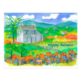 Cartão Postal Outono feliz das abóboras do folhagem de outono