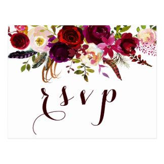 Cartão Postal Outono floral da aguarela boémia que Wedding RSVP