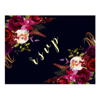 Cartão Postal Outono floral de Marsala Boho do marinho que