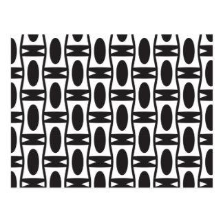 Cartão Postal Ovals preto e branco retros