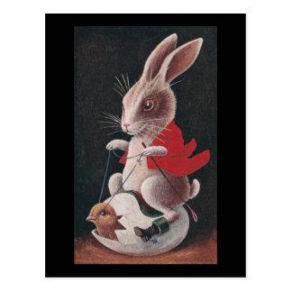 Cartão Postal Ovo da equitação do coelho da páscoa