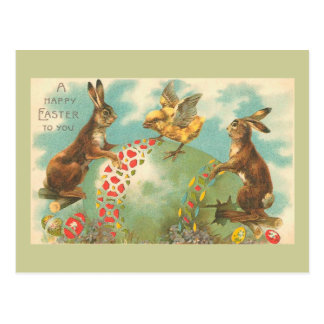 Cartão Postal Ovo da páscoa verde bonito do vintage