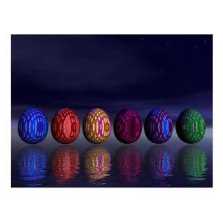 Cartão Postal Ovos coloridos para a páscoa - 3D rendem