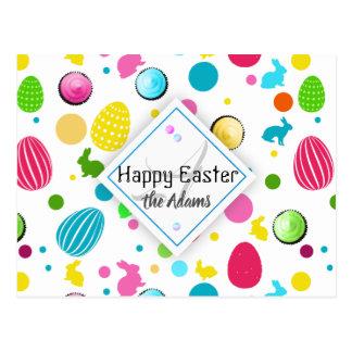 Cartão Postal Ovos da páscoa coloridos, coelhos, monograma dos