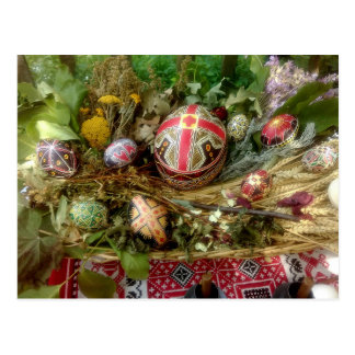 Cartão Postal Ovos da páscoa pintados mão
