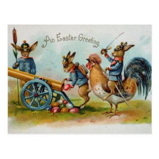 Cartão Postal Ovos militares dos coelhinhos da Páscoa em Canon