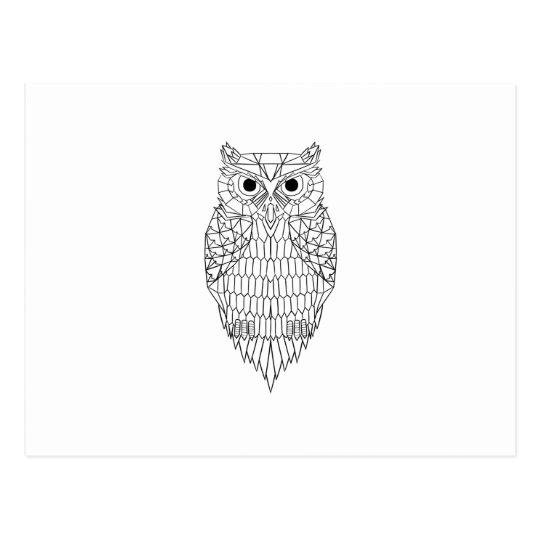 Cartão Postal Owl Black & White