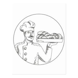 Cartão Postal Padeiro que guardara o pão na arte do Doodle da