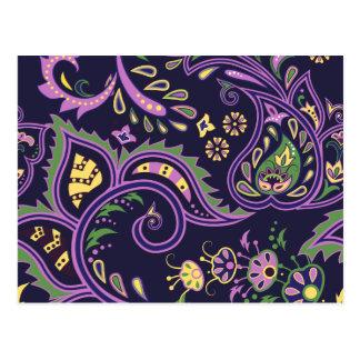 Cartão Postal Padrões florais decorativos