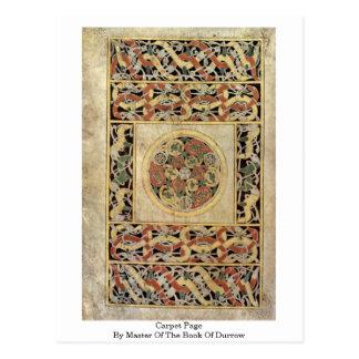Cartão Postal Página do tapete pelo mestre do livro de Durrow