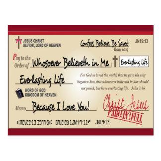 Cartão Postal Pago completamente salvar pelo cristão da