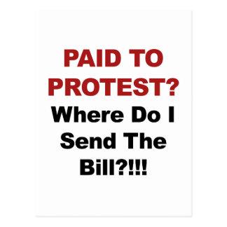 Cartão Postal Pago para protestar? De onde eu envio o Bill?