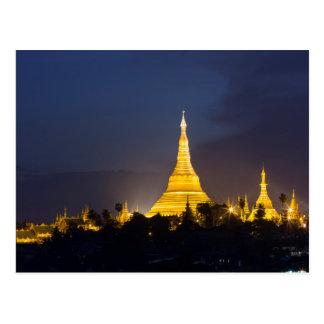 Cartão Postal Pagode de Shwedagon na noite