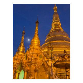 Cartão Postal Pagode na noite, Myanmar de Shwedagon
