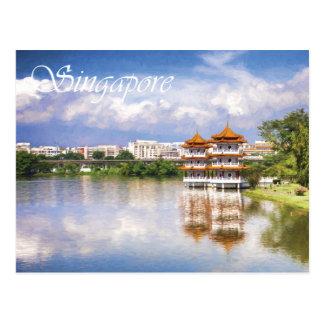 Cartão Postal Pagodes gêmeos nos jardins chineses, Singapore