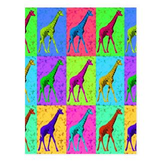 Cartão Postal Painéis de passeio do girafa do pop art