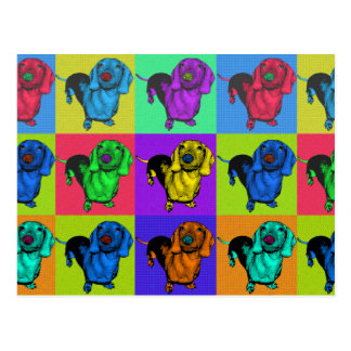 Cartão Postal Painéis do Dachshund do pop art