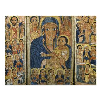 Cartão Postal Painel Center do Triptych com Mary e seu filho