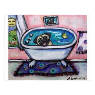 Cartão Postal paintingpugpinkbath2