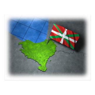 Cartão Postal País Basque com sua própria bandeira