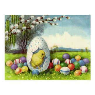 Cartão Postal Paisagem colorida algodão do ovo do pintinho da