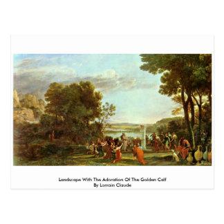 Cartão Postal Paisagem com a adoração da vitela dourada