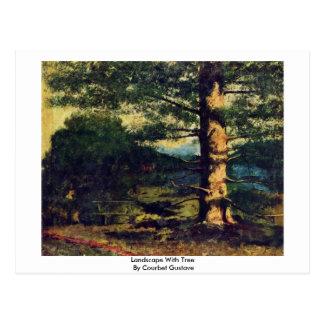 Cartão Postal Paisagem com a árvore por Courbet Gustave