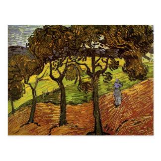 Cartão Postal Paisagem com árvores e figuras por Van Gogh