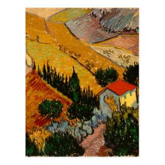 Cartão Postal Paisagem com casa & Ploughman, Vincent van Gogh