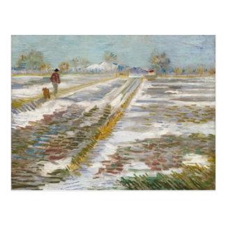 Cartão Postal Paisagem com neve, belas artes de Van Gogh
