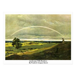 Cartão Postal Paisagem com o arco-íris por Friedrich Caspar