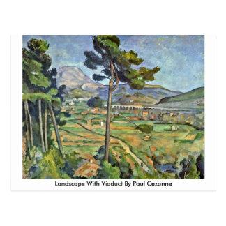 Cartão Postal Paisagem com o viaduto por Paul Cezanne