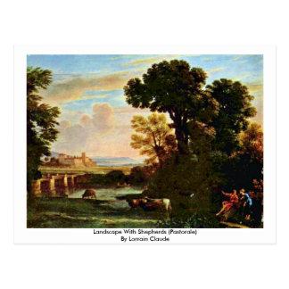 Cartão Postal Paisagem com pastores (Pastorale)