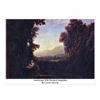 Cartão Postal Paisagem com penitente Magdalen por Lorrain Claude