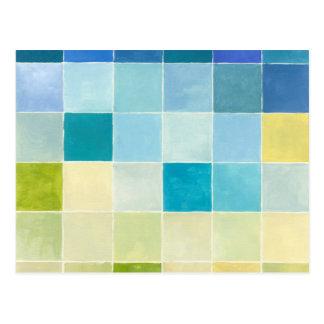 Cartão Postal Paisagem com quadrados Pixilated coloridos