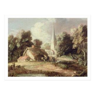 Cartão Postal Paisagem com uma igreja, casa de campo, aldeões e