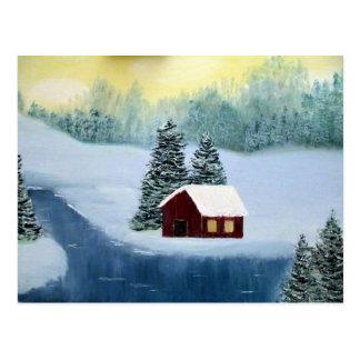 Cartão Postal Paisagem congelada paz das árvores do rio da neve