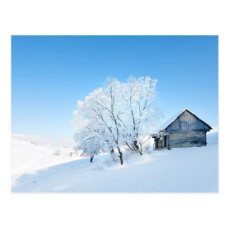 Cartão Postal Paisagem da cabine do inverno