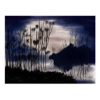 Cartão Postal Paisagem da meia-noite