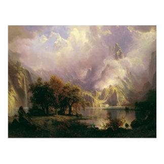 Cartão Postal Paisagem da montanha rochosa por Albert Bierstadt,