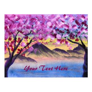 Cartão Postal Paisagem das montanhas do crepúsculo do lago trees