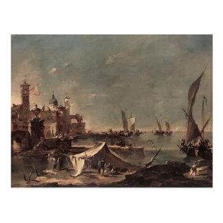 Cartão Postal Paisagem de Francesco Guardi- com um pescador